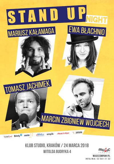 Stand-Up Night: T. Jachimek, E. Błachnio, M. Kałamaga, M.Z. Wojciech w Studio