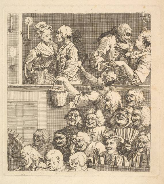 The Laughing Audience, etching, William Hogarth, 1733